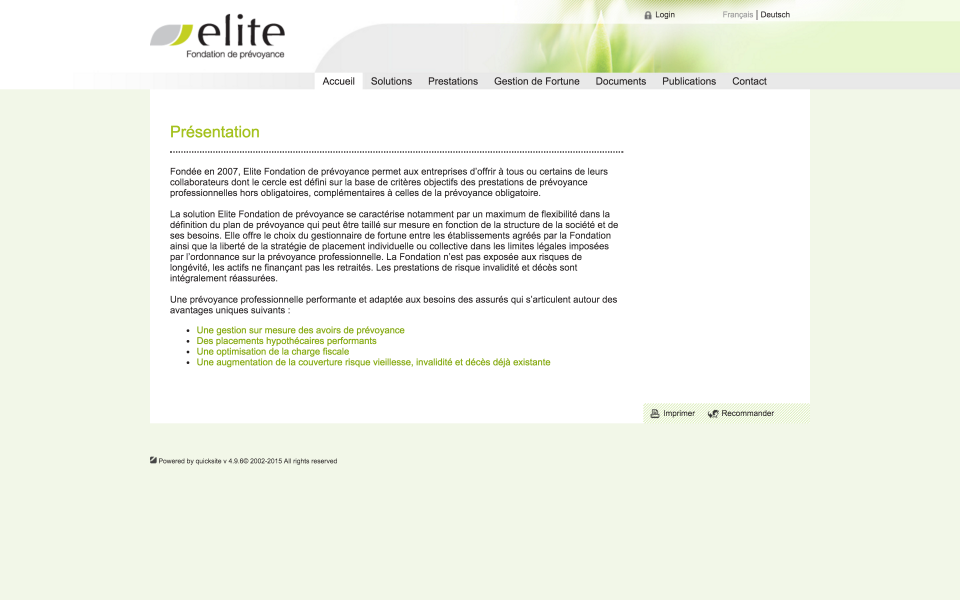 Screenshot prevoyance.elitefondation.ch