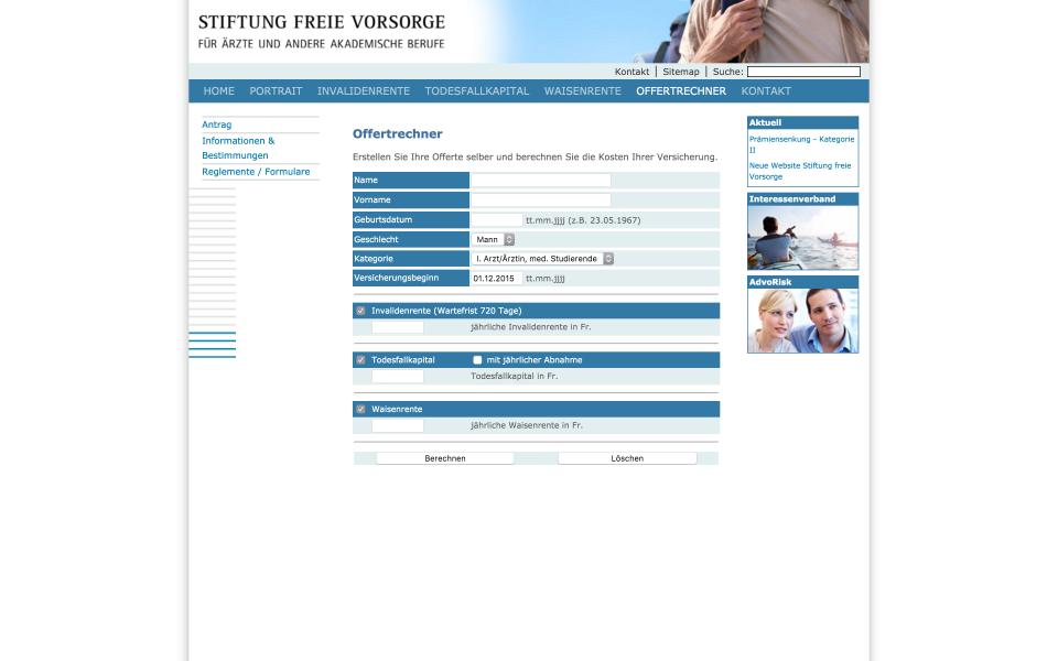 Screenshot freievorsorge.ch